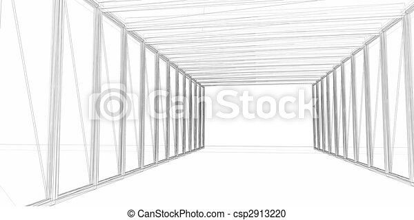 Abstract architectural 3D construction. Concept - modern architecture and designing. - csp2913220