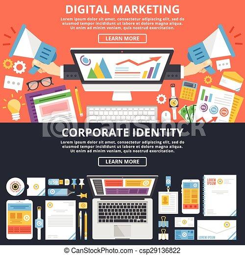 Vector illustration of digital marketing identity set for Digital marketing materials