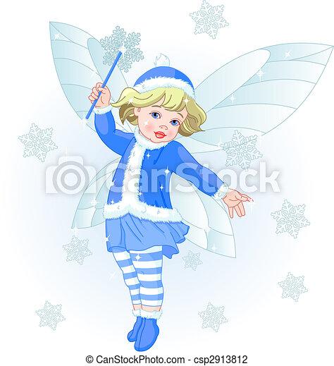 Vector Illustration of Winter baby fairy - Vector illustration of ...