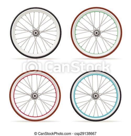 Clip Art Vector of Vector Bicycle wheel set - Vector illustration ...