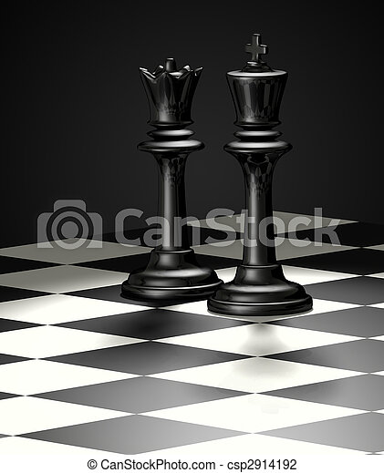 Stock Photo of Chess King and Queen - isolated - Black ...
