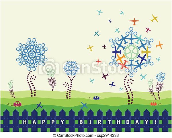 Birthday Card With Planes And Cogs - csp2914333