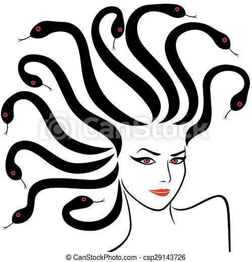 Vector Illustration of Female Head as a Medusa Gorgon, vector ...