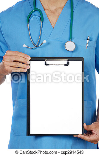 anonymous doctor whit notepad  - csp2914543