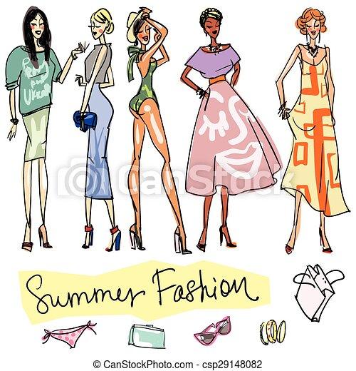 Summer Fashion hand drawn doodles. - csp29148082