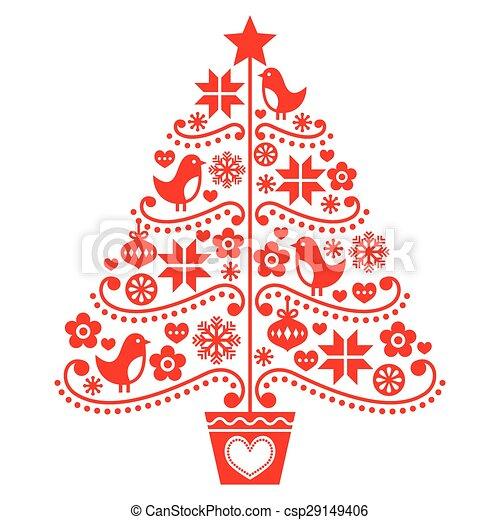 Christmas Tree Design Folk Style Stock Illustration