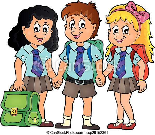 Clip Art Vector of School pupils theme image 3 - eps10 ...