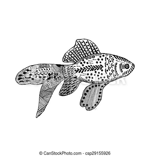 Illustration vecteur de stylis poisson rouge zentangle zentangle stylis csp29155926 - Dessin poisson stylise ...