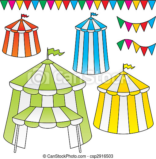 Circus tents vector - csp2916503