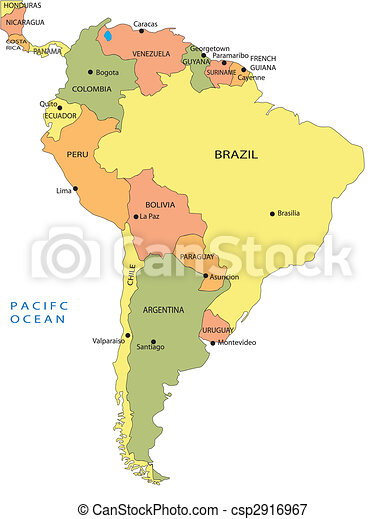 Political map of South America - csp2916967