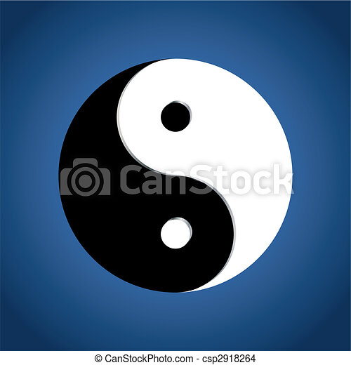 Ying Yang Symbol on blue background - csp2918264