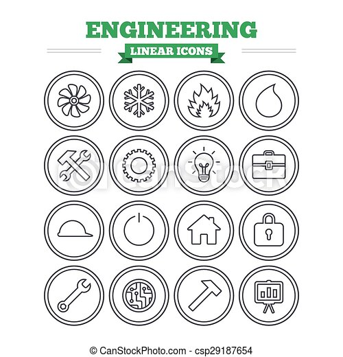 Engineering Linear Icons Set Thin Outline Signs Vector 29187654