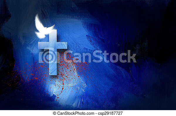 Conceptual graphic illustration of Christian cross with white dove and blood spatter, symbolizing the cost of Jesus Christ\'s sacrificial work of salvation. Artwork composed against abstract blue oil painted background with texture.