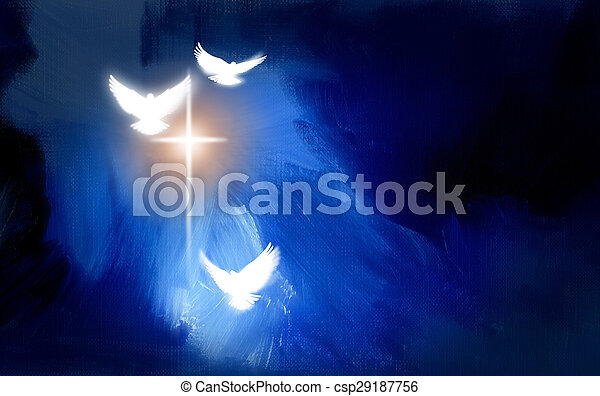 Conceptual graphic illustration of glowing Christian cross with three white doves, symbolizing Jesus Christ\'s sacrificial work of salvation. Artwork composed against abstract blue oil painted background with texture.