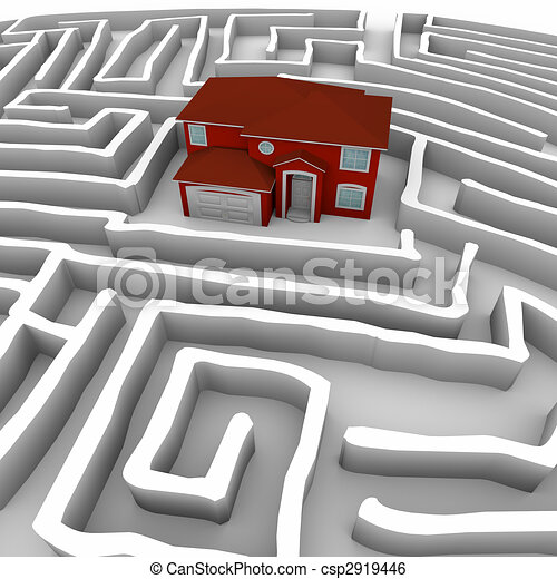 Red Home in Maze - Find Path to Ownership - csp2919446