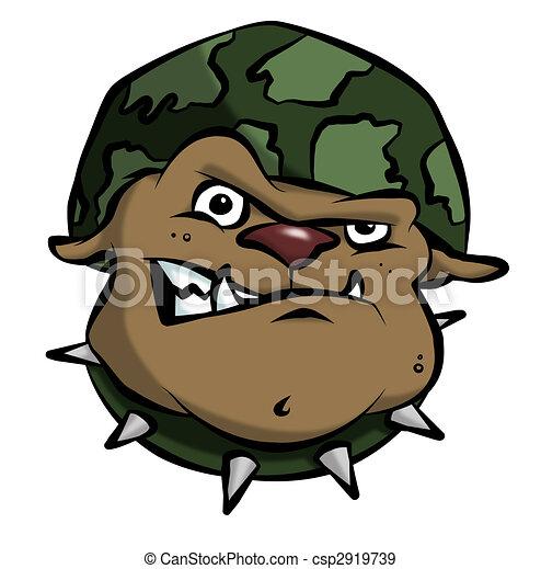 Cartoon Army Bulldog - csp2919739