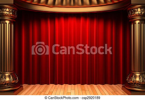 red velvet curtains behind the gold columns  - csp2920189