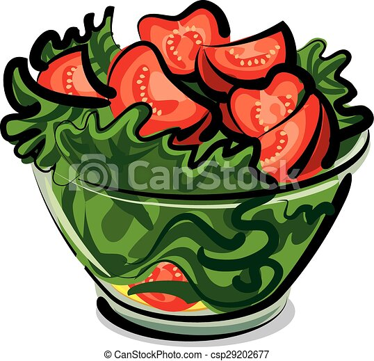 Vectors Illustration Of Salad With Tomatoes Csp29202677