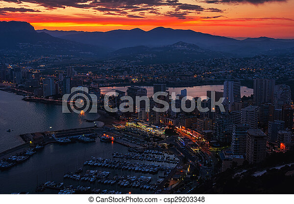 Aerial view of Calpe, Costa Blanca at sunset - csp29203348