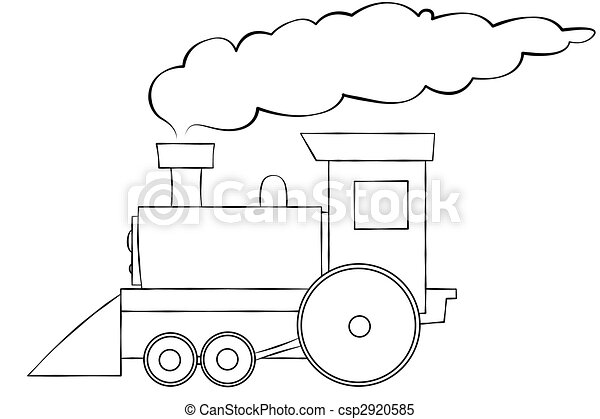 Cartoon Train Line Art - csp2920585