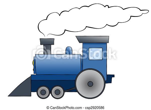 Blue Cartoon Train - csp2920586