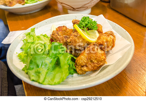 Fried chicken on a white plate - csp29212510