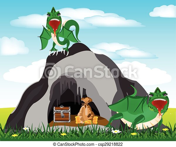 Vector Illustration of Cave and dragons - Cave in grief and ...