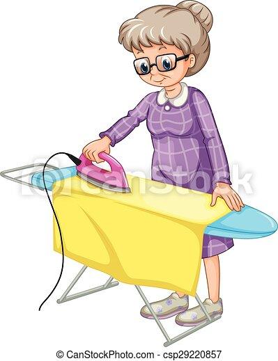 vecteur clipart de repassage vieux femme repassage v tements sur csp29220857. Black Bedroom Furniture Sets. Home Design Ideas