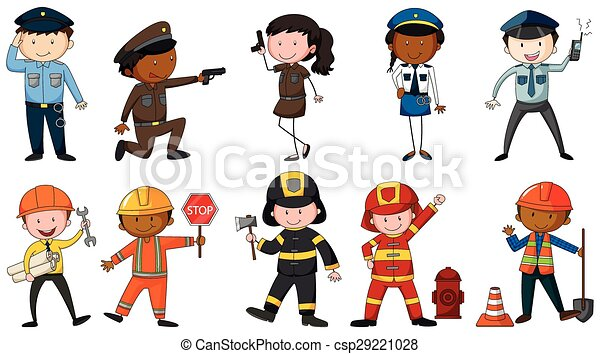 Vector Illustration of Occupation Set of men and woman
