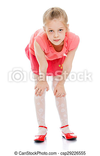 tiny young girl bending over
