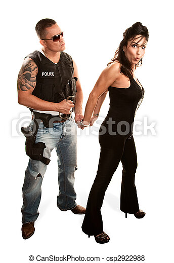 Policeman arresting pretty woman - csp2922988