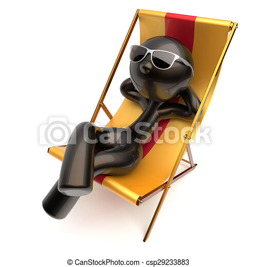 Stock Illustration of Man carefree beach deck chair chilling relaxing ...