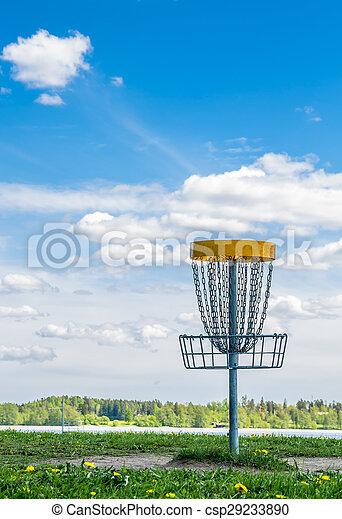 Frisbee golf basket on the grass