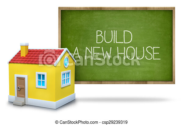 Haus bauen clipart  Clipart von tafel, bauen, neues haus - Build, a, neues haus, text ...