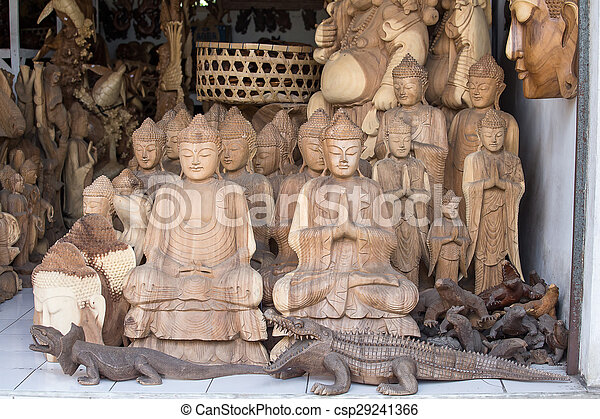 Wooden souvenirs for tourists in a stock image - Artesania de indonesia ...