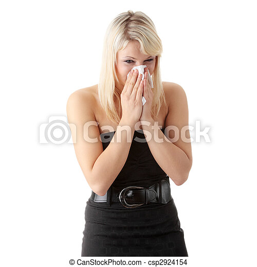 Young blonde woman having a cold - csp2924154