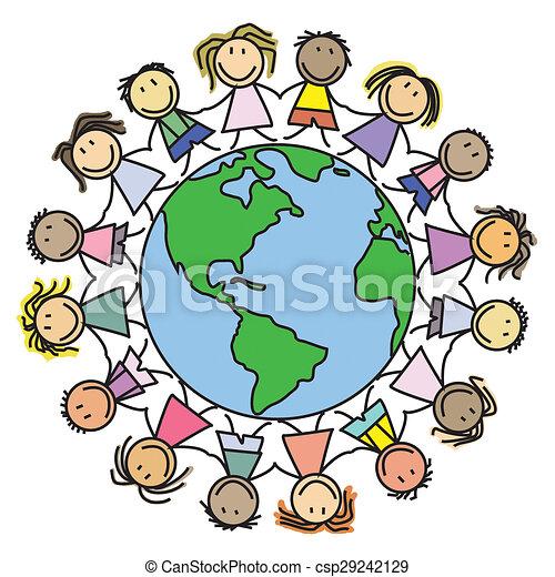 Clip Art of kids world, children globe - Kids on world - group of ...