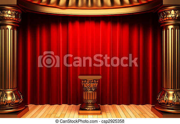 red velvet curtains, gold columns and Pedestal  - csp2925358