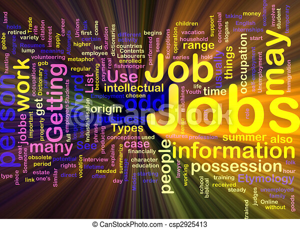 Jobs employment background concept glowing - csp2925413