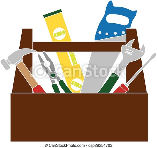 Vector Clipart of Toolbox with Construction Tools Color ...
