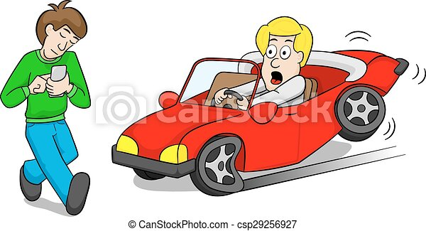 Car Accident On The Phone Clip Art