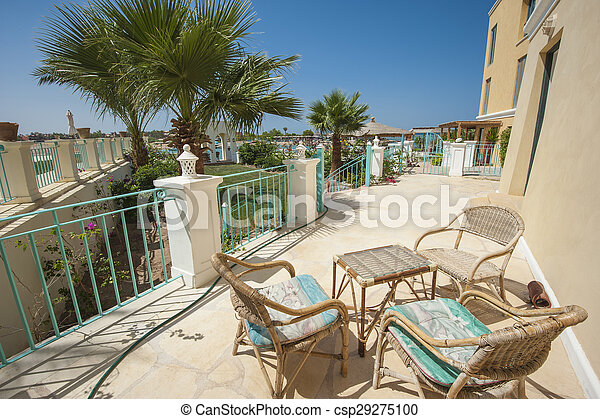 Patio of luxury villa in tropical resort