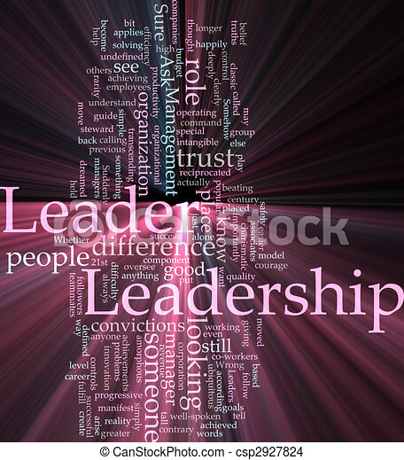 Leadership word cloud glowing - csp2927824