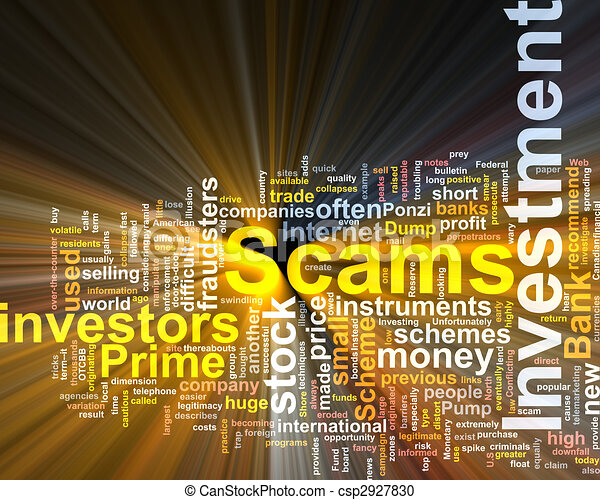 Investment scams word cloud glowing - csp2927830