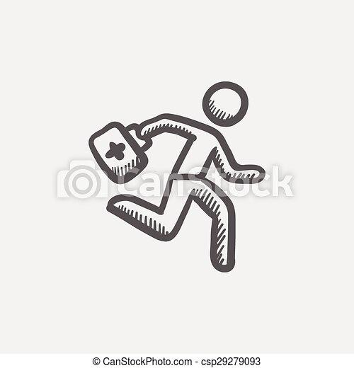 Sanitäter symbol  EPS Vektoren von Skizze, Satz, rennender, sanitäter, Hilfe, zuerst ...