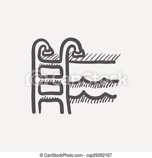 Clip art vecteur de natation piscine chelle croquis for Prix piscine 3x5