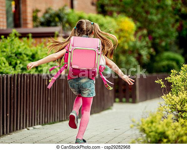 little girl run to school