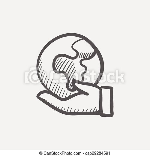 EPS Vectors of Hand holding earth sketch icon for web and mobile ...