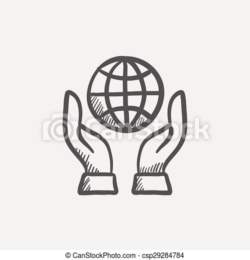 Vector of Two hands holding globe sketch icon for web and mobile ...
