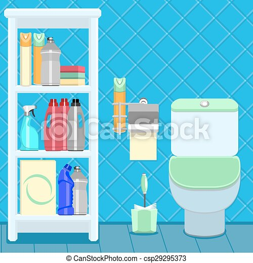 vectors illustration of bathroom items the toilet bowl and shelf with household csp29295373. Black Bedroom Furniture Sets. Home Design Ideas